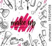 set of make up hand drawn...   Shutterstock .eps vector #593149358