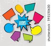 funny set comic book cartoon... | Shutterstock .eps vector #593150630