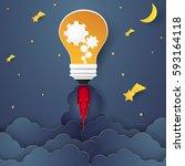 idea concept  bulb rocket... | Shutterstock .eps vector #593164118