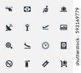 set of 16 simple travel icons.... | Shutterstock .eps vector #593169779