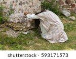 jesus in agony praying in the... | Shutterstock . vector #593171573