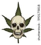 rastaman skull with cannabis... | Shutterstock .eps vector #593175818