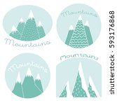 mountains on a white background | Shutterstock .eps vector #593176868