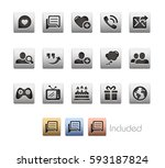 social communications icons  ... | Shutterstock .eps vector #593187824