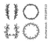 hand drawn floral elements and... | Shutterstock .eps vector #593189513