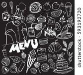 hand drawn food elements. set... | Shutterstock .eps vector #593192720