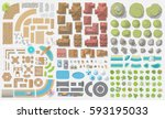 vector set. old city.  top view ...   Shutterstock .eps vector #593195033