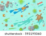 vector illustration. diving at... | Shutterstock .eps vector #593195060