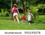family holiday in nature.... | Shutterstock . vector #593195078