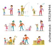 fatherhood elements set with... | Shutterstock .eps vector #593196944