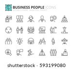 outline icons about business... | Shutterstock .eps vector #593199080