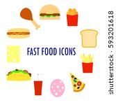 set of fast food icons. flat...   Shutterstock .eps vector #593201618