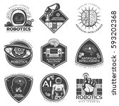 vintage future technology... | Shutterstock .eps vector #593202368
