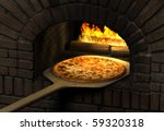 Pizza  resting on a wooden spatula inside a sood fired brick pizza oven - stock photo