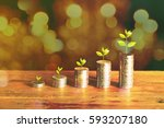 money growing plant step with... | Shutterstock . vector #593207180