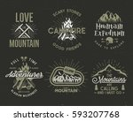 set of mountain and scouting... | Shutterstock .eps vector #593207768