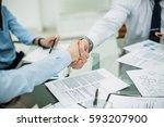 handshake business partners... | Shutterstock . vector #593207900