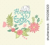happy easter greeting card with ... | Shutterstock .eps vector #593208320