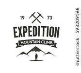 mountain expedition label with... | Shutterstock .eps vector #593209568