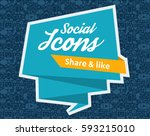 flat icons in a speech bubble... | Shutterstock .eps vector #593215010