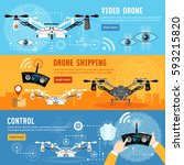 drone for delivery  shadowing... | Shutterstock .eps vector #593215820