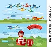 skydiving teamwork banner... | Shutterstock .eps vector #593216309