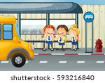 three students waiting for bus... | Shutterstock .eps vector #593216840