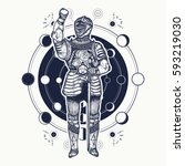 medieval knight tattoo art.... | Shutterstock .eps vector #593219030