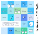 vector concept business icons... | Shutterstock .eps vector #593222420