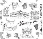 venice italy seamless pattern.... | Shutterstock .eps vector #593222834