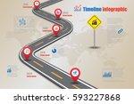 design template  road map... | Shutterstock .eps vector #593227868