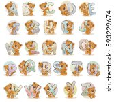 set vector letters of the... | Shutterstock .eps vector #593229674