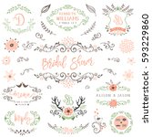 hand drawn rustic bridal shower ... | Shutterstock .eps vector #593229860