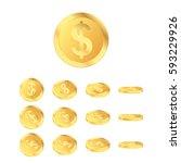 3d gold coins. cool coins set.... | Shutterstock .eps vector #593229926