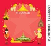 myanmar landmarks  people in...   Shutterstock .eps vector #593230094