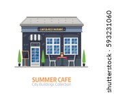 summer cafe shop with outdoor... | Shutterstock .eps vector #593231060