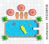 Swimming Pool Top View With...