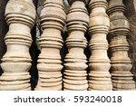 ancient clay window columns... | Shutterstock . vector #593240018