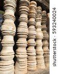 ancient clay window columns... | Shutterstock . vector #593240024
