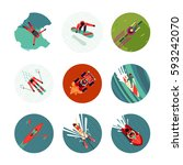 extreme sport flat icons set.... | Shutterstock .eps vector #593242070