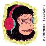 male ape with headphones.... | Shutterstock .eps vector #593242949