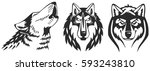 wolfs vector heads set. perfect ... | Shutterstock .eps vector #593243810