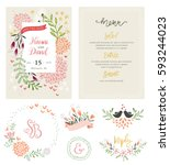 hand drawing wedding... | Shutterstock .eps vector #593244023