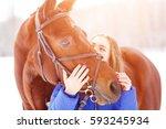 young teenage girl spending...   Shutterstock . vector #593245934