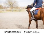 young horseback rider on field... | Shutterstock . vector #593246213
