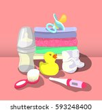 vector illustration of baby... | Shutterstock .eps vector #593248400