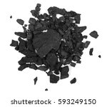pile black coal isolated on... | Shutterstock . vector #593249150