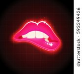 vector woman biting lips retro... | Shutterstock .eps vector #593249426