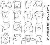 vector set of dog | Shutterstock .eps vector #593251949
