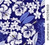 aloha hawaiian shirt seamless... | Shutterstock .eps vector #593254010